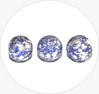 Pressed beads - blue with silver, 12mm, packing 15 pcs