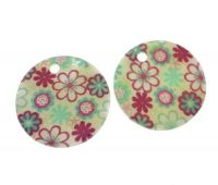 Printed shell pendant 30mm, design 35, packing 1 pc