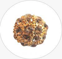 Rhinestone bead 12mm,col.A- topaz Au, packing 1 pc