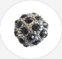 Rhinestone bead 12mm,col.B-black Ag, packing 1 pc