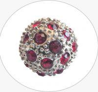 Rhinestone bead 12mm,col.C-siam Ag, packing 1pc