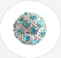 Rhinestone bead 12mm,col.I-aquamarine Ag, packing 1 pc