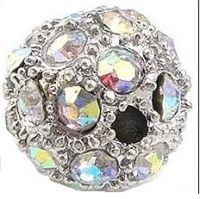 Rhinestone bead 12mm,col.K-crystal AB Ag, packing 10pc