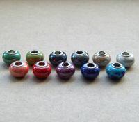 Porcelánové korálky MIX, 11x15mm, dírka 5mm, balení 10 ks