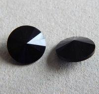 Broušené kabošony rivoli 12x12x6mm s pravým stříbrem, černá 18, balení 2ks
