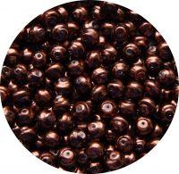 Voskové perle, tvar 08mm, tmavě hnědá, balení 30ks