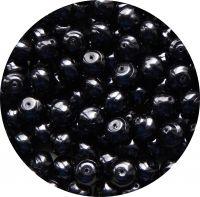 Voskové perle, tvar 12mm, tmavě šedá, balení 10 ks