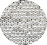 White glass pearl 04mm, white, packing 60 pcs