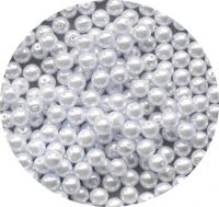Glass pearls, white, 6mm, packing 30 pcs
