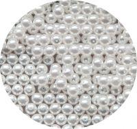Voskové perle , kulička 08mm, bílá, balení 20 ks