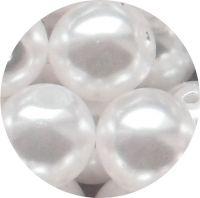 Perle voskové, kulička 12mm, bílá, balení 6 ks