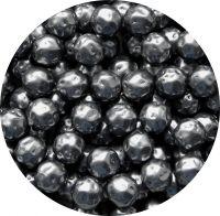 Voskové perle, tvar 12mm, šedá, balení 10 ks
