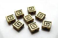 Akrylové korálky, čtverec 8x8x3.5mm, starobronz, balení 30 ks
