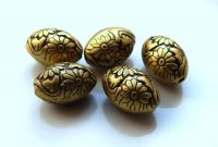 Acrylic beads, oval 10.5x15mm, antique bronze, packing 10 pcs