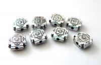 Akrylové korálky, čtverec 10x9x4.5mm, starostříbro, balení 20 ks