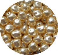 Voskové perle, krémový ovál, 11x10mm, balení po 10 ks