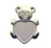 Zinc Alloy Brooch Finding, Bear,size 28x37x2mm, kettle 20x19,5mm, platinum, packing 1pc