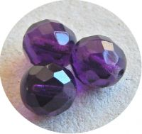 Fire polished halfdrilled beads 06mm, amethyst, packing 30 pcs