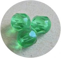 Fire polished halfdrilled beads 06mm, emerald, packing 30 pcs