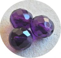 Fire polished halfdrilled beads 08mm, amethyst, packing 20 pcs