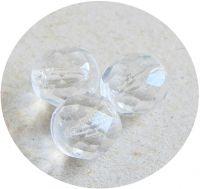 Broušená půldírová kulička 10mm, krystal, balení 10 ks