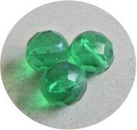 Fire polished halfdrilled beads 10mm, green, packing 10 pcs