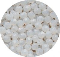 Fire polished beads 04mm, white opal, packing 60 pcs