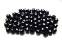 Fire polished beads 04mm, jet, packing 60 pcs