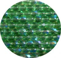 Fire polished beads - emerald AB 04mm, packing 60 pcs