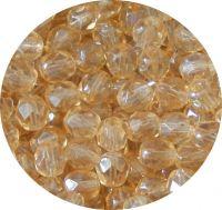 Broušené korálky 06mm, krystal s oranžovým celodekorem, balení 30 ks