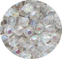 Broušené korálky - krystal s AB pokovem, 6mm, balení 30 ks
