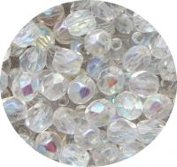 Broušené korálky 06mm, krystal AB pokov, balení 30 ks