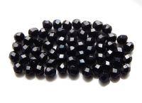 Broušené korálky 06mm, černá,  balení 30ks