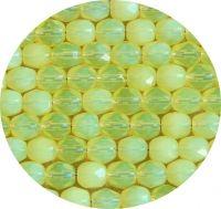 Broušené korálky 06mm, jonquil opál, balení 30 ks