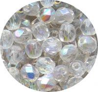 Broušené korálky 08mm krystal AB, balení 20 ks