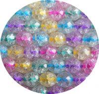 Broušené korálky - práskaný krystal s barevným průtahem, mix barev, 8mm, balení po 15ks
