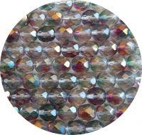Broušené korálky 09mm, krystal s červenozeleným listrem, balení 10 ks