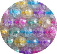 Práskané korálky s barevným průtahem, mix, 11mm, 15ks