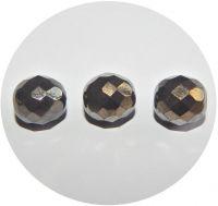 Broušené korálky - černá s valentinitem, 12mm, balení po 10 ks