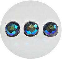 Fire polished beads -  jet with AB, 12mm, packing 10 pcs