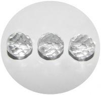 Broušené korálky 14mm, krystal, balení 5 ks