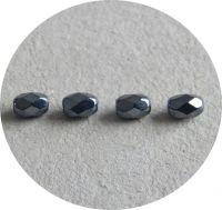 Broušené korálky, oliva 07x05mm, hematit, balení 30 ks
