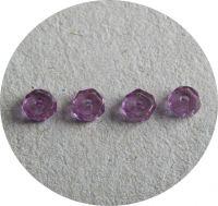 Broušené korálky, rádle 03x06mm, krystal s fialovým listrem, balení 30 ks