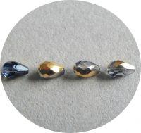 Broušené korálky, slza 10x07mm, krystal se zlatomodrým polodekorem, balení 15 ks