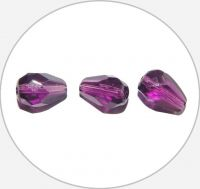 Fire polished beads - amethyst drop, 10x7mm, packing 15 pcs