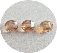 Fire polished beads - crystal oval with celsian, 10x8mm, packing 10 pcs