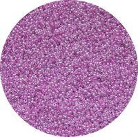 Český rokajl, krystal s fialovým průtahem a listrem, 11-0 (2,0-2,2mm), balení po 25g