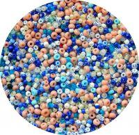 Český rokajl, bílo-modrý mix, 2,3-3,5mm, balení po 25g