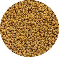 Český rokajl, matová žlutá s proužky, 9-0 (2,4-2,8mm), balení 25g