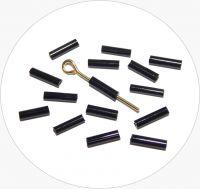 Czech rocailles bugles, black, size 6,7x2mm, packing 25g